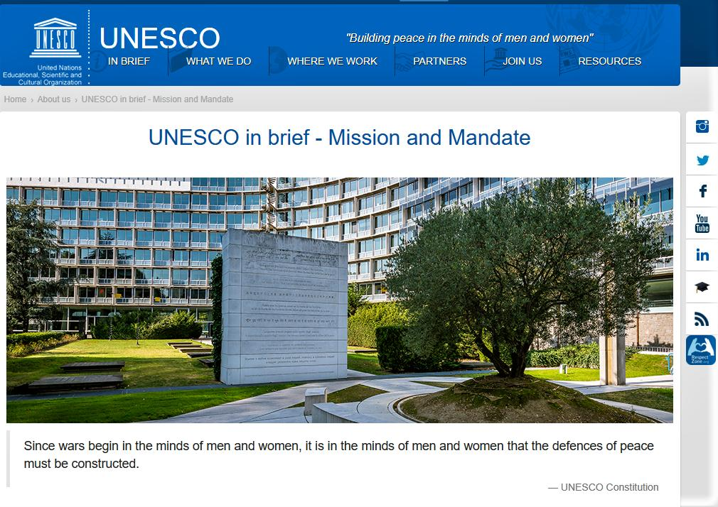 """UNESCO – """"Building Peace in the Minds of Men and Women"""""""